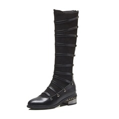 Women's Leatherette Chunky Heel Boots Knee High Boots With Rivet shoes