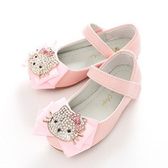 Girl's Leatherette Flat Heel Round Toe Closed Toe Mary Jane Flats With Bowknot Velcro Crystal