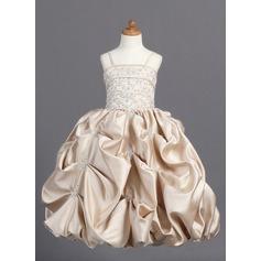 Duchesse-Linie Bodenlang Blumenmädchenkleid - Satin Ärmellos Correas de hombro mit Bestickt/Perlstickerei/Suchen Up Skirt