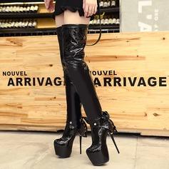 Frauen Lackleder Stöckel Absatz Absatzschuhe Plateauschuh Stiefel über Knie mit Bowknot Reißverschluss Schuhe