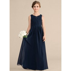 A-Line/Princess V-neck Floor-Length Chiffon Lace Junior Bridesmaid Dress With Ruffle