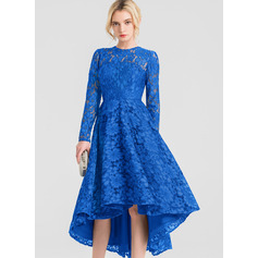 A-Line Scoop Neck Asymmetrical Lace Cocktail Dress