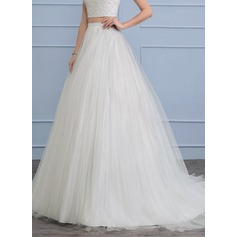 Court Train Tulle Wedding Dress