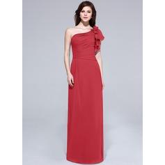 A-Line/Princess One-Shoulder Floor-Length Chiffon Bridesmaid Dress With Beading Flower(s) Cascading Ruffles