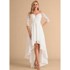 Corte A Fuera del hombro Asimétrico Satén Encaje Vestido de novia
