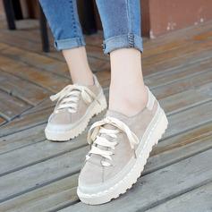 Женщины Замша Плоский каблук На плокой подошве с Шнуровка обувь