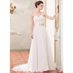 A-linjeformat Hjärtformad Court släp Chiffong Bröllopsklänning med Rufsar Skärpband Pärlbrodering Paljetter
