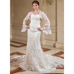 Trumpet/Mermaid Sweetheart Watteau Train Detachable Lace Wedding Dress With Beading