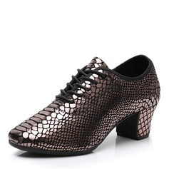 Women's Real Leather Ballroom With Lace-up Sequin Dance Shoes