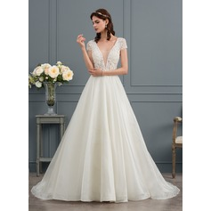 Balklänning V-ringning Court släp Organzapåse Bröllopsklänning med Beading