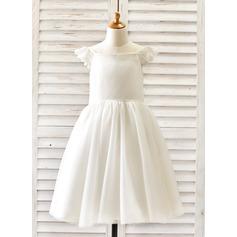 Corte A/Princesa Hasta la rodilla Vestidos de Niña Florista - Tul Sin mangas Escote redondo con Encaje