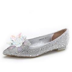 Kvinner Lær Flat Hæl Flate sko med Blomst