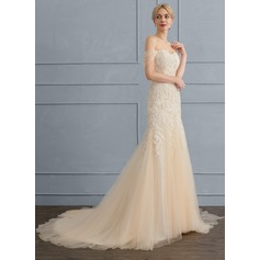 Trumpet/Mermaid Sweetheart Sweep Train Tulle Wedding Dress (002107839)