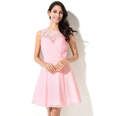 A-Line/Princess Scoop Neck Short/Mini Chiffon Homecoming Dress With Ruffle Beading Flower(s) Sequins (022042645)