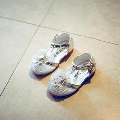 A menina de Mesh Heel plana Fechados Sem salto com Laço de cetim Velcro
