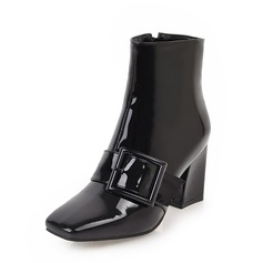 Women's Patent Leather Chunky Heel Pumps Mid-Calf Boots With Buckle Zipper shoes