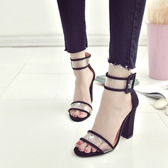Frauen Veloursleder Stoff Stämmiger Absatz Sandalen Absatzschuhe Peep Toe mit Schnalle Schuhe
