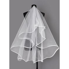 1 couche Bord en ruban Voile de mariée longueur coude