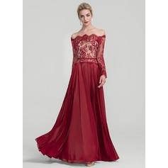 A-Line/Princess Off-the-Shoulder Floor-Length Chiffon Evening Dress