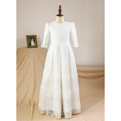 Empire Floor-length Flower Girl Dress - Satin/Lace 3/4 Sleeves Scoop Neck