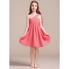 Princesový One-Shoulder Po kolena Šifón Šaty pro mladou družičku S Volán