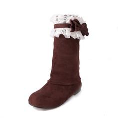 Naisten Mokkanahka Matala heel Kengät Knee saappaat jossa Bowknot Stitching Lace kengät
