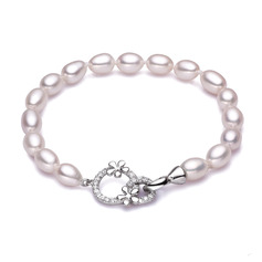 Ladies' Shining 925 Sterling Silver Pearl/Cubic Zirconia Bracelets For Friends/For Couple