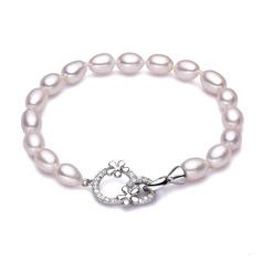 Ladies ' Shining 925 Sterling Sølv Pearl/Terningformet Zirkon Armbånd Brudepige/Blomst pige