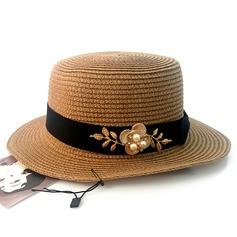 Señoras' Hermoso Ratán paja/Aleación con La perla de faux Sombrero de paja
