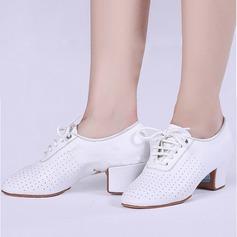 Femmes Vrai cuir Escarpins Tennis avec Dentelle Chaussures de danse
