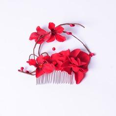 Elegante Flor de seda Pentes & presilhas/Flores & penas