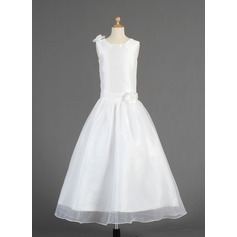 A-Line/Princess Ankle-length Flower Girl Dress - Taffeta/Organza Sleeveless Scoop Neck With Flower(s)