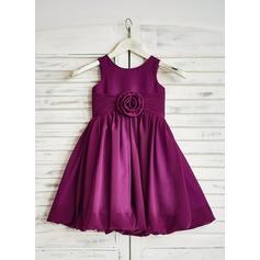 Corte A/Princesa Hasta la rodilla Vestidos de Niña Florista - Gasa Sin mangas Escote redondo con Flores