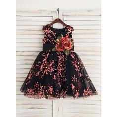 Forme Princesse Longueur genou Robes à Fleurs pour Filles - Satiné Sans manches Col rond avec Fleur(s)