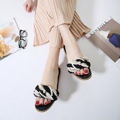 Kvinnor Konstläder Flat Heel Platta Skor / Fritidsskor Tofflor med Oäkta Pearl Flätad rem skor