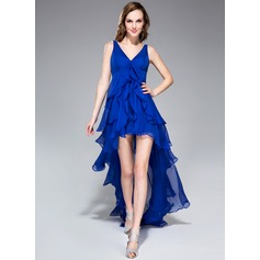 Vestidos princesa/ Formato A Decote V Assimétrico De chiffon Vestido de boas vindas com Babados em cascata