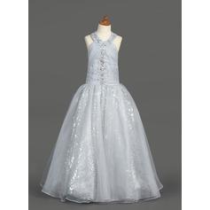 A-Line/Princess Floor-length Flower Girl Dress - Organza/Sequined Sleeveless Halter With Ruffles/Beading