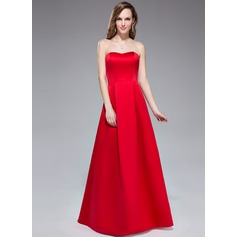 A-Line/Princess Sweetheart Floor-Length Satin Bridesmaid Dress (017042367)