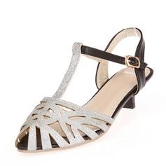 Kvinner Lær Lav Hæl Sandaler med Hul ut sko