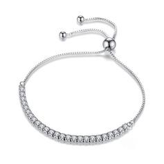 Platino Plateado Cadena delicada Bracelets De Mariée Bracelets Bolo con Cubic zirconia - Regalos De San Valentín Para Ella