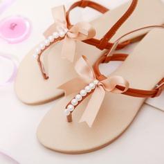 Femmes Similicuir Talon plat Chaussures plates À bout ouvert Sandales avec Bowknot Pearl