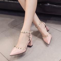 De mujer PU Tacón ancho Sandalias Salón con Rivet zapatos