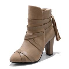 Kvinnor Mocka Konstläder Stilettklack Pumps Stövlar med Bandage skor