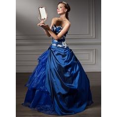 Balklänning Älskling Golvlång Taft Quinceanera Klänning med Beading Applikationer Spetsar Paljetter Svallande Krås