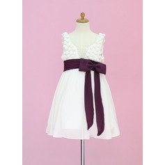 A-Line/Princess Tea-length Flower Girl Dress - Chiffon/Tulle Sleeveless Scoop Neck With Sash/Beading/Bow(s)