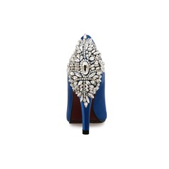 Women's Suede Silk Cone Heel Platform Peep Toe With Rhinestone shoes