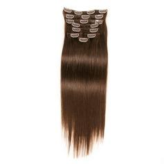 4A Ej remy Rakt människohår Klämma i hårförlängningar 8pcs 80g