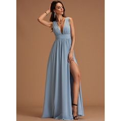 A-Line V-neck Floor-Length Chiffon Dresses (293241968)