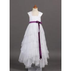 A-Line/Princess Floor-length Flower Girl Dress - Tulle/Charmeuse Sleeveless Square Neckline With Ruffles/Sash/Bow(s)
