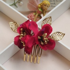 Glamourous Alloy/Silk Flower Combs & Barrettes (Set of 2)